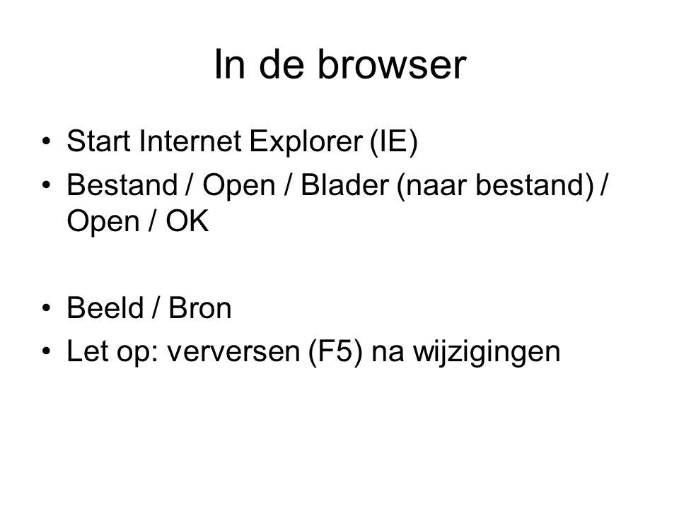 In de browser Start Internet Explorer (IE) Bestand / Open / Blader (naar bestand) / Open / OK Beeld / Bron Let op: verversen (F5) na wijzigingen