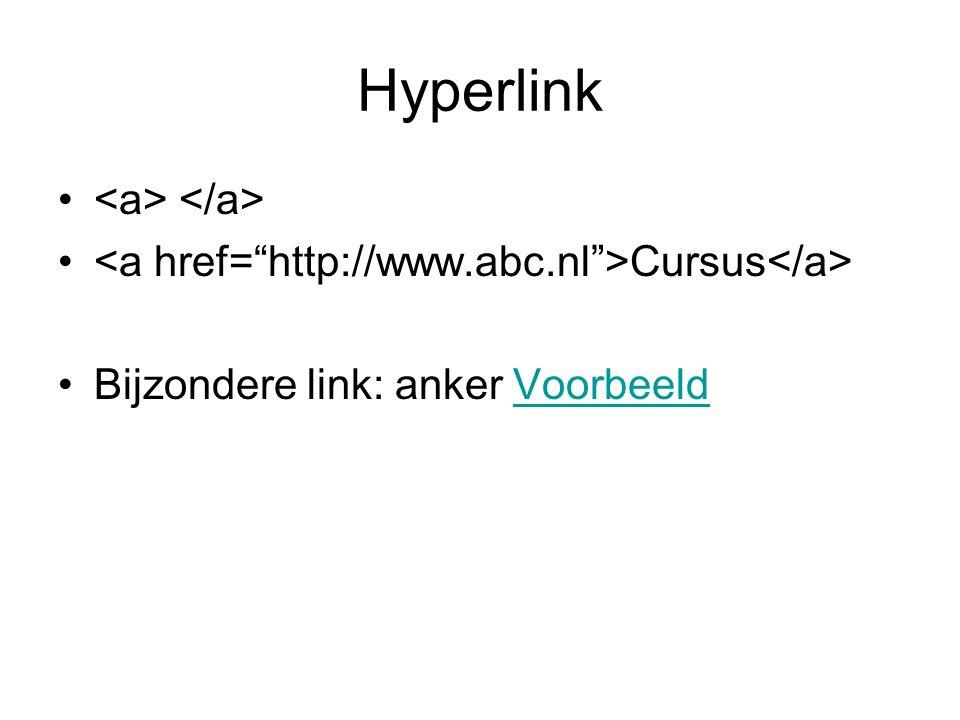 Hyperlink Cursus Bijzondere link: anker VoorbeeldVoorbeeld