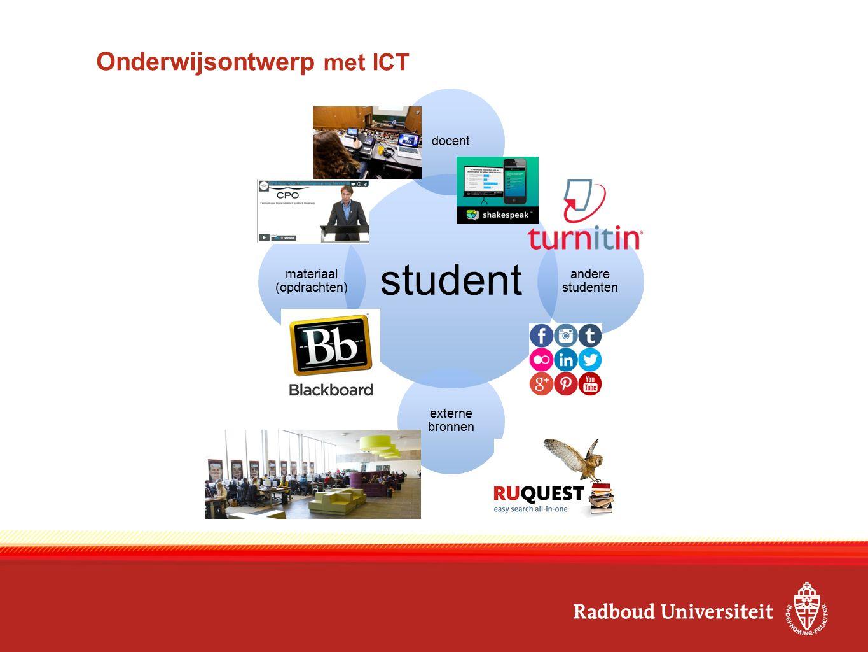 student docent andere studenten externe bronnen materiaal (opdrachten) Onderwijsontwerp met ICT