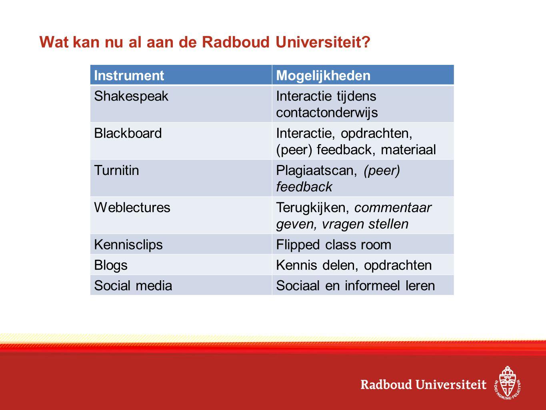Wat kan nu al aan de Radboud Universiteit.