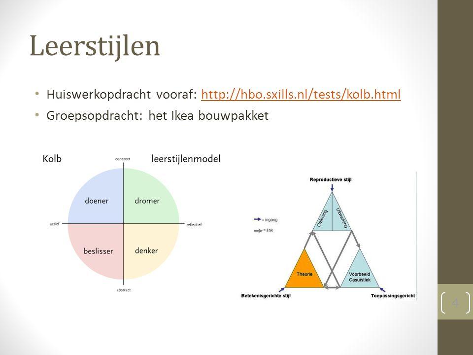 Leerstijlen Huiswerkopdracht vooraf: http://hbo.sxills.nl/tests/kolb.htmlhttp://hbo.sxills.nl/tests/kolb.html Groepsopdracht: het Ikea bouwpakket 4