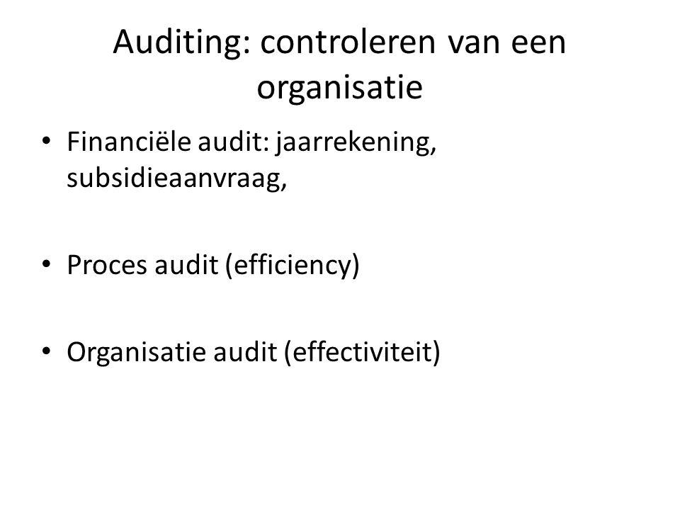 Auditing: controleren van een organisatie Financiële audit: jaarrekening, subsidieaanvraag, Proces audit (efficiency) Organisatie audit (effectiviteit