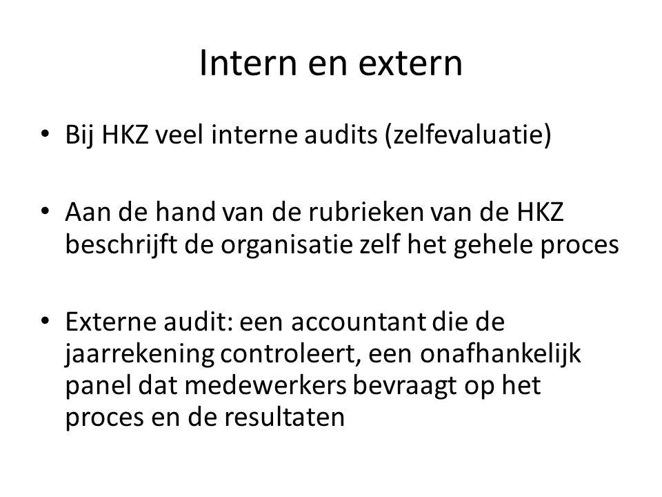 Intern en extern Bij HKZ veel interne audits (zelfevaluatie) Aan de hand van de rubrieken van de HKZ beschrijft de organisatie zelf het gehele proces Externe audit: een accountant die de jaarrekening controleert, een onafhankelijk panel dat medewerkers bevraagt op het proces en de resultaten