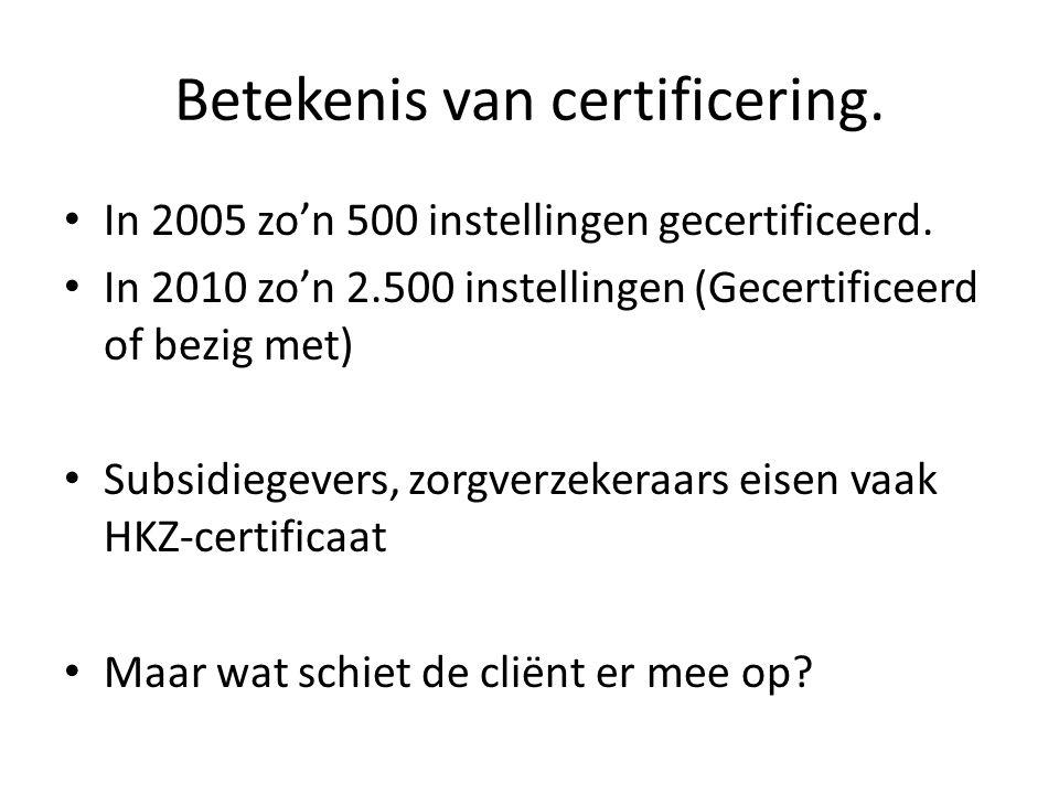 Betekenis van certificering. In 2005 zo'n 500 instellingen gecertificeerd. In 2010 zo'n 2.500 instellingen (Gecertificeerd of bezig met) Subsidiegever