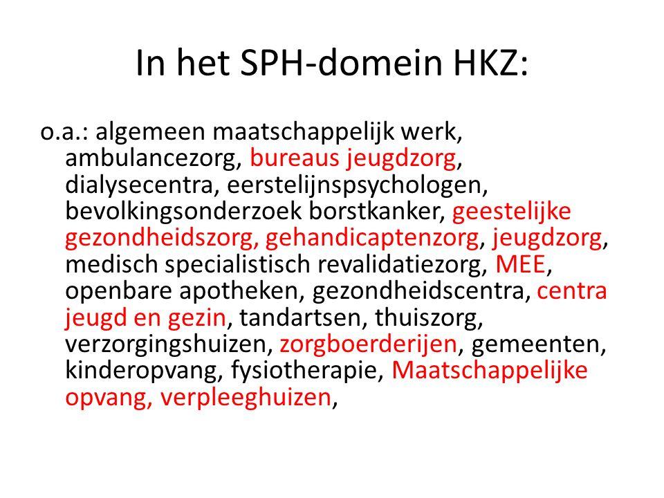 In het SPH-domein HKZ: o.a.: algemeen maatschappelijk werk, ambulancezorg, bureaus jeugdzorg, dialysecentra, eerstelijnspsychologen, bevolkingsonderzo