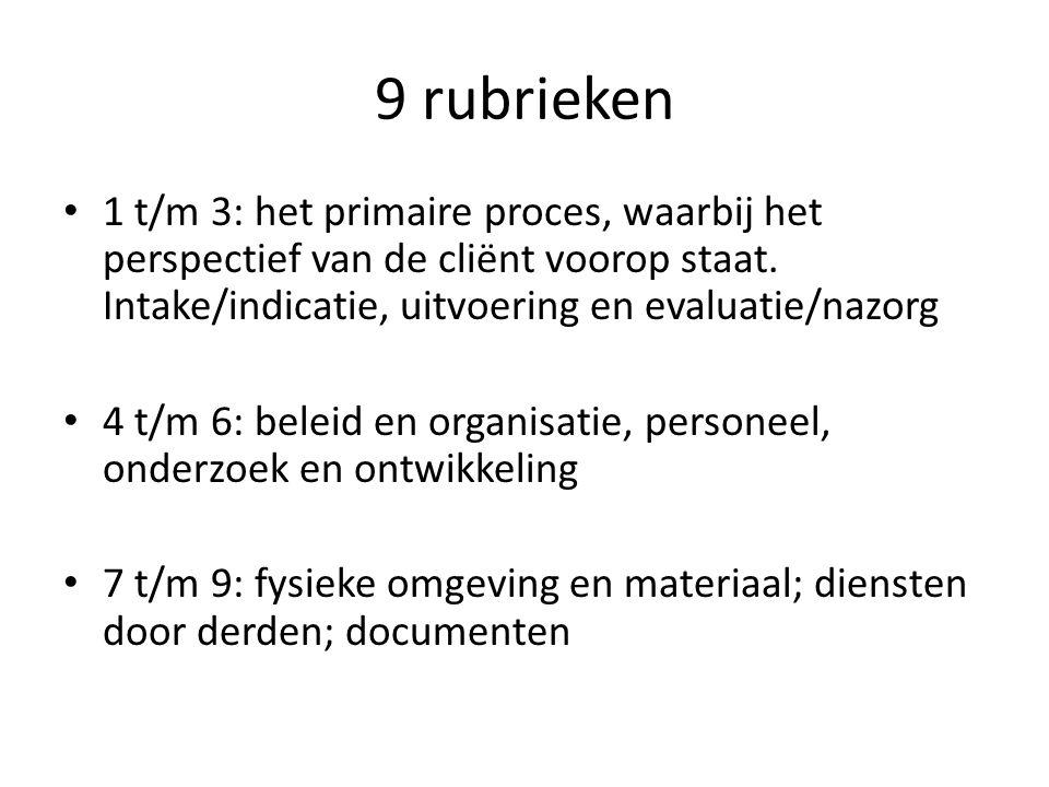9 rubrieken 1 t/m 3: het primaire proces, waarbij het perspectief van de cliënt voorop staat. Intake/indicatie, uitvoering en evaluatie/nazorg 4 t/m 6