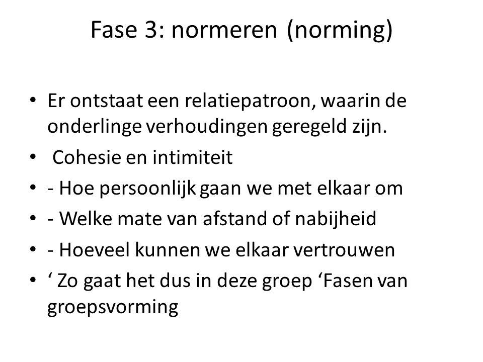 Fase 3: normeren (norming) Er ontstaat een relatiepatroon, waarin de onderlinge verhoudingen geregeld zijn.
