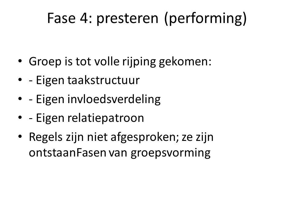 Fase 4: presteren (performing) Groep is tot volle rijping gekomen: - Eigen taakstructuur - Eigen invloedsverdeling - Eigen relatiepatroon Regels zijn niet afgesproken; ze zijn ontstaanFasen van groepsvorming