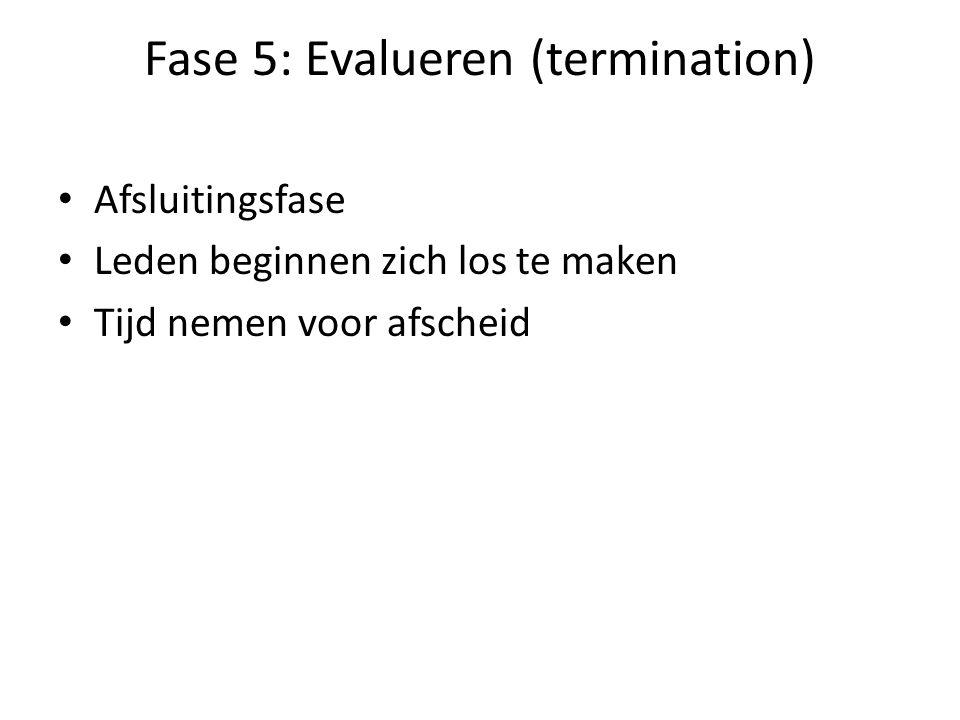 Fase 5: Evalueren (termination) Afsluitingsfase Leden beginnen zich los te maken Tijd nemen voor afscheid