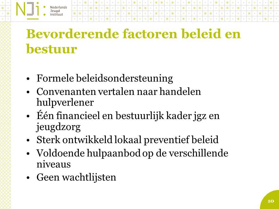 10 Bevorderende factoren beleid en bestuur Formele beleidsondersteuning Convenanten vertalen naar handelen hulpverlener Één financieel en bestuurlijk