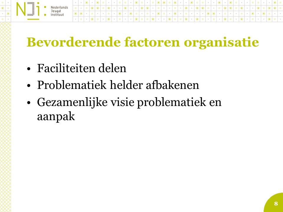 9 Bevorderende factoren Werkprocessen Goede afspraken over terugkoppeling Evaluatie samenwerking en effecten voor de cliënt Privacyregeling Elektronisch kinddossier en verwijsindex