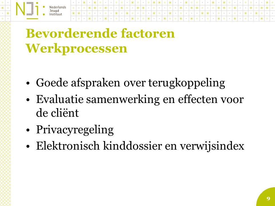 9 Bevorderende factoren Werkprocessen Goede afspraken over terugkoppeling Evaluatie samenwerking en effecten voor de cliënt Privacyregeling Elektronis