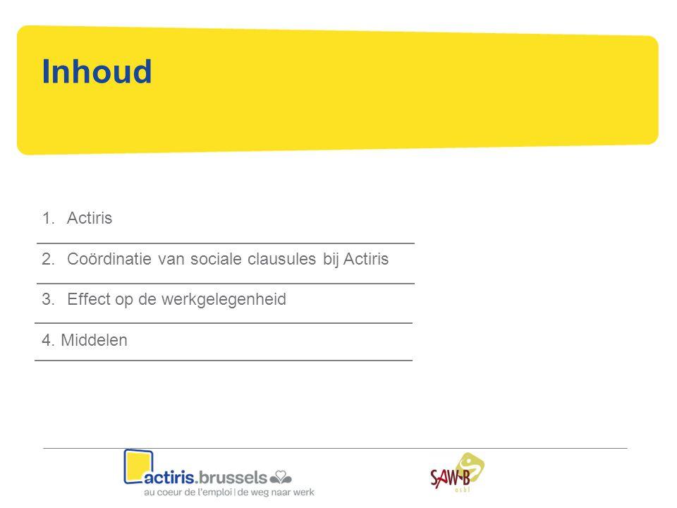 Inhoud 1.Actiris 2.Coördinatie van sociale clausules bij Actiris 3.Effect op de werkgelegenheid 4. Middelen