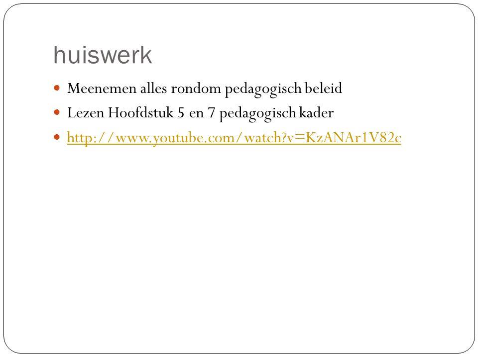 huiswerk Meenemen alles rondom pedagogisch beleid Lezen Hoofdstuk 5 en 7 pedagogisch kader http://www.youtube.com/watch?v=KzANAr1V82c