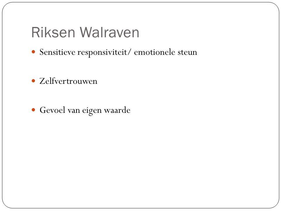 Riksen Walraven Sensitieve responsiviteit/ emotionele steun Zelfvertrouwen Gevoel van eigen waarde