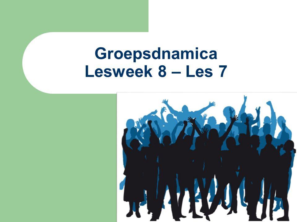 Groepsdynamica Week 2: Inleiding in de groepsdynamica 1.1-1.5+1.9 Week 3: Groepsontwikkeling 1.6-1.8 Week 4: Effectieve samenwerking2.1,2.8-2.10, 2.12-2.13 Week 5: Roos van Leary 3.7+ artikelen n@tschool Roos van Leary en Yohari venster Week 6: Leiderschap en leiderschapsstijlen 4.1, 4.3, 4.4, 4.6 (alleen pg 126+127) Week 7: Besluitvorming en belangenconflicten 6.1, 6.2 (pg 168- 169), 6.4-6.6, 8.1-8.6 Week 8: Team ontwikkeling 10.1-10.3, 10.5,10.6, 10.8, 10.13 Week 9: Begeleiden therapeutische groepen 11.1-11.5 Week 10: Inleveren van de Take-home toets op vrijdag om uiterlijk 12.00 uur.