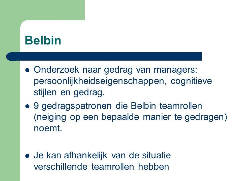 Belbin Onderzoek naar gedrag van managers: persoonlijkheidseigenschappen, cognitieve stijlen en gedrag. 9 gedragspatronen die Belbin teamrollen (neigi