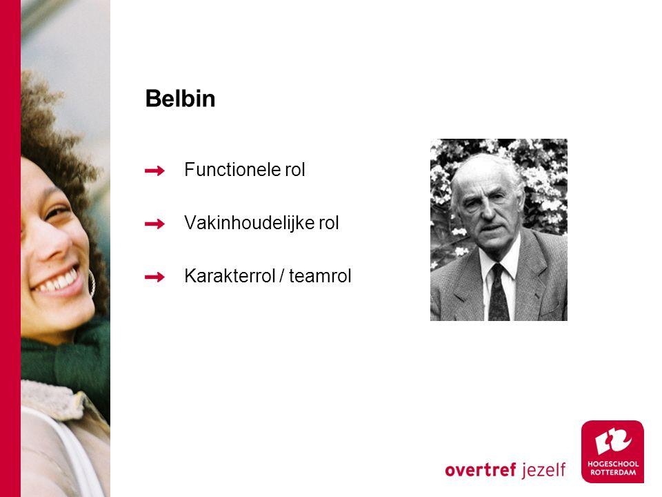 Belbin Functionele rol Vakinhoudelijke rol Karakterrol / teamrol