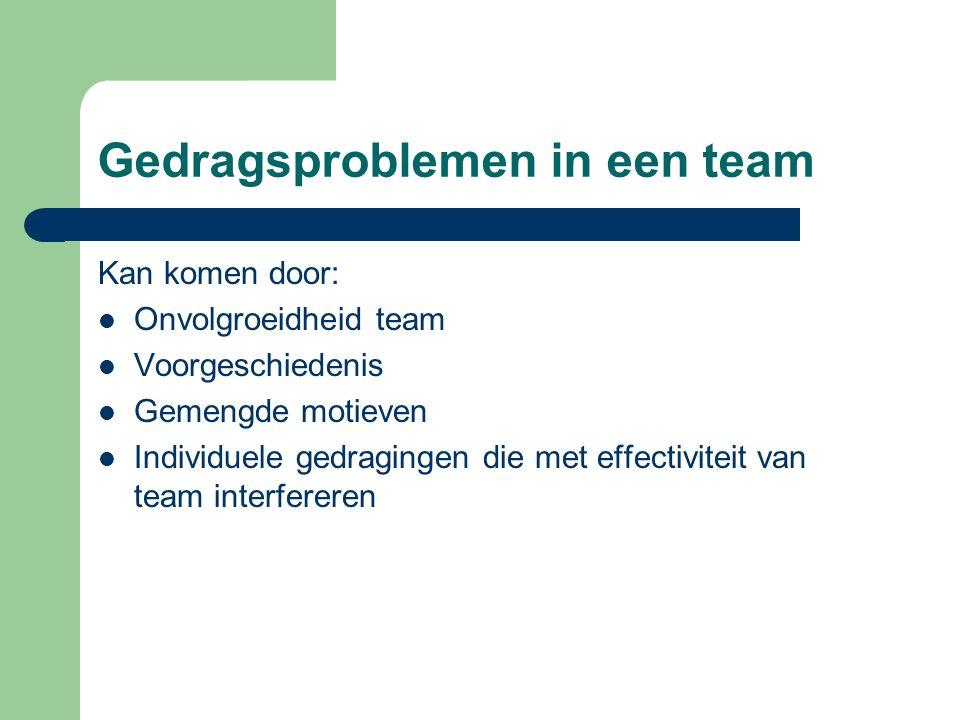 Gedragsproblemen in een team Kan komen door: Onvolgroeidheid team Voorgeschiedenis Gemengde motieven Individuele gedragingen die met effectiviteit van
