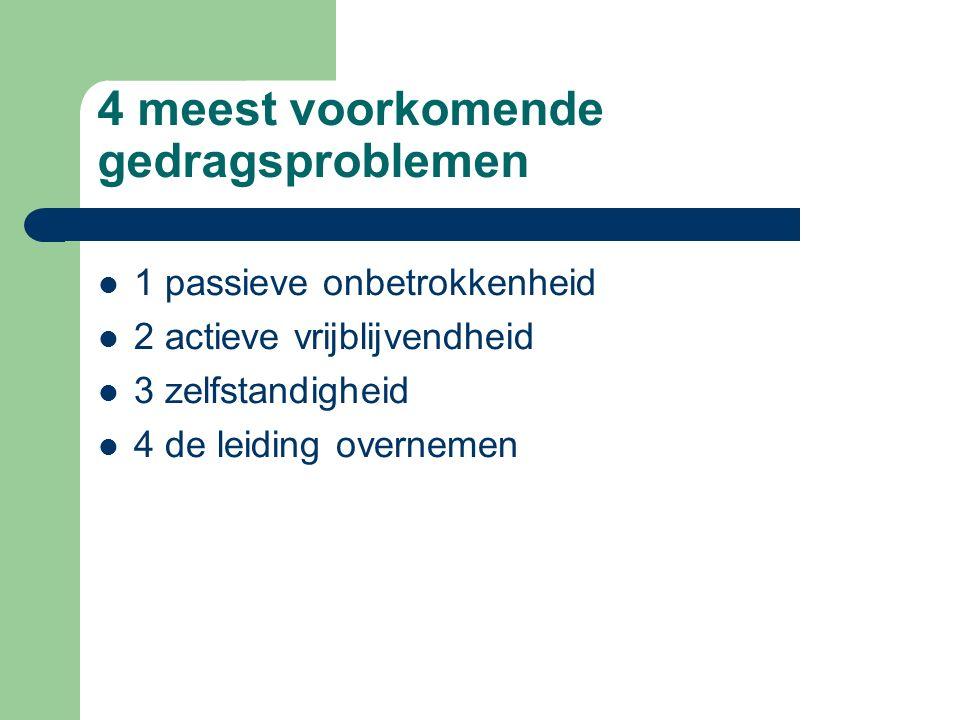 4 meest voorkomende gedragsproblemen 1 passieve onbetrokkenheid 2 actieve vrijblijvendheid 3 zelfstandigheid 4 de leiding overnemen