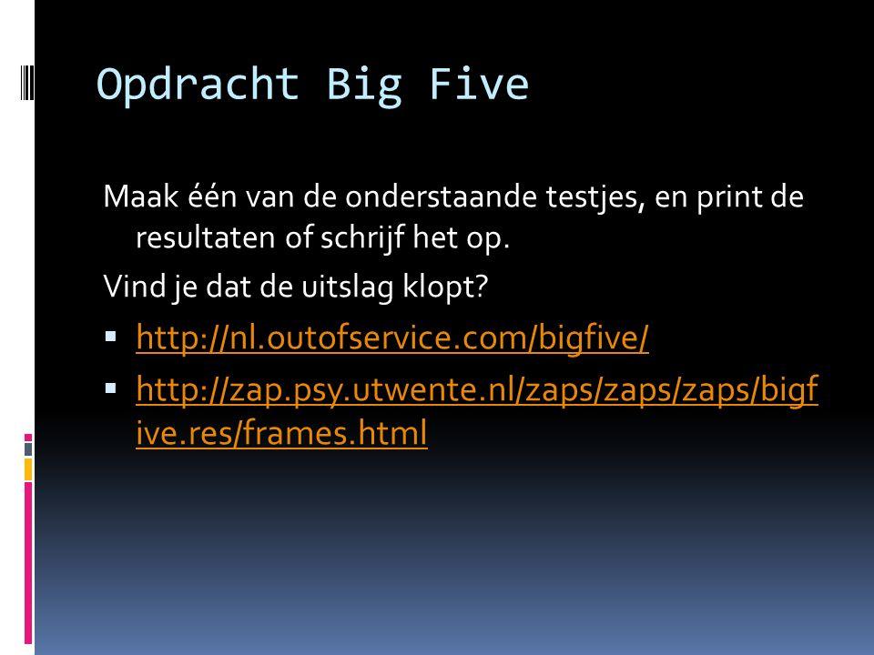 Opdracht Big Five Maak één van de onderstaande testjes, en print de resultaten of schrijf het op. Vind je dat de uitslag klopt?  http://nl.outofservi