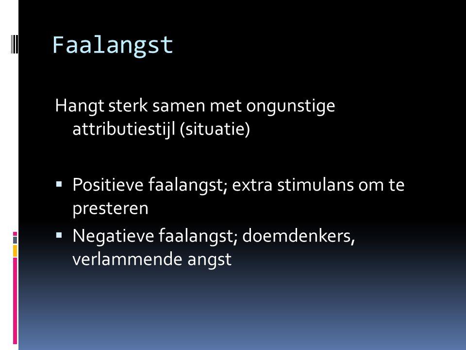 Faalangst Hangt sterk samen met ongunstige attributiestijl (situatie)  Positieve faalangst; extra stimulans om te presteren  Negatieve faalangst; do