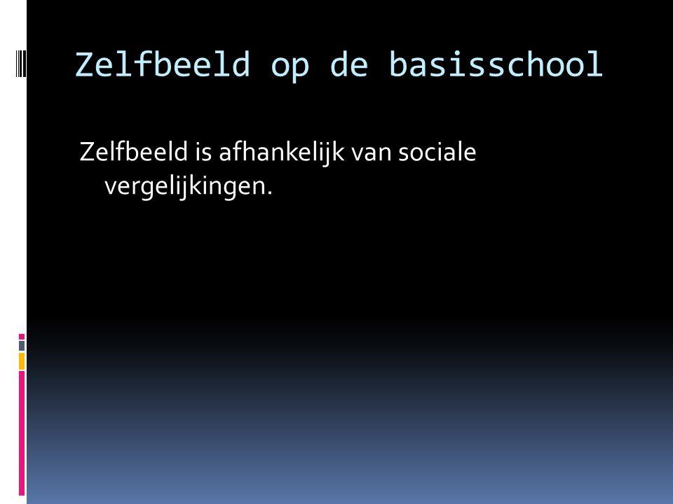 Zelfbeeld op de basisschool Zelfbeeld is afhankelijk van sociale vergelijkingen.