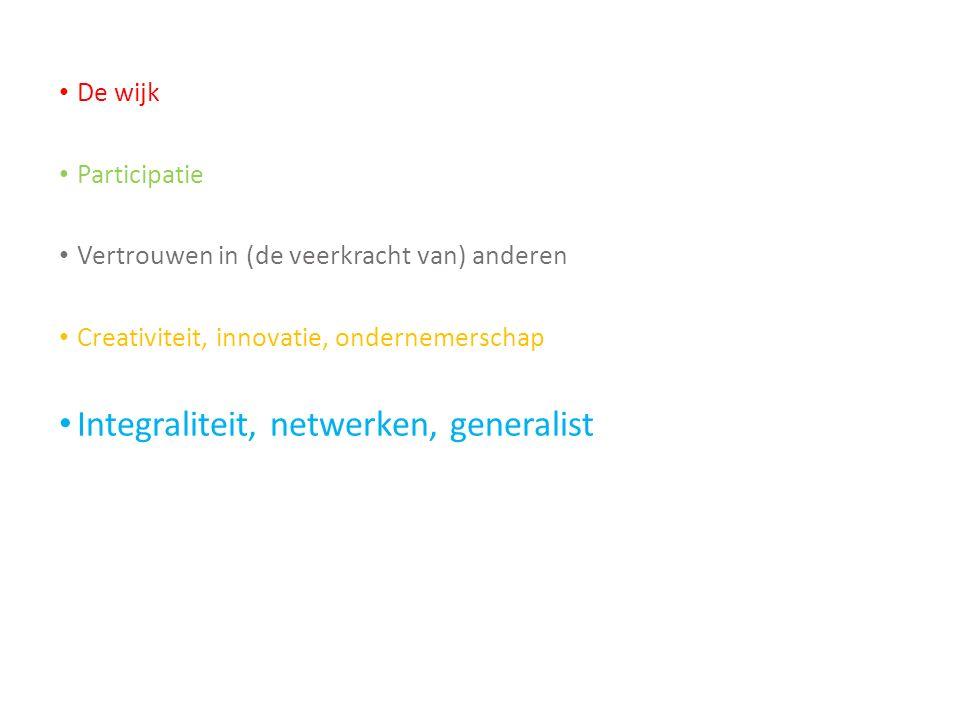 De wijk Participatie Vertrouwen in (de veerkracht van) anderen Creativiteit, innovatie, ondernemerschap Integraliteit, netwerken, generalist