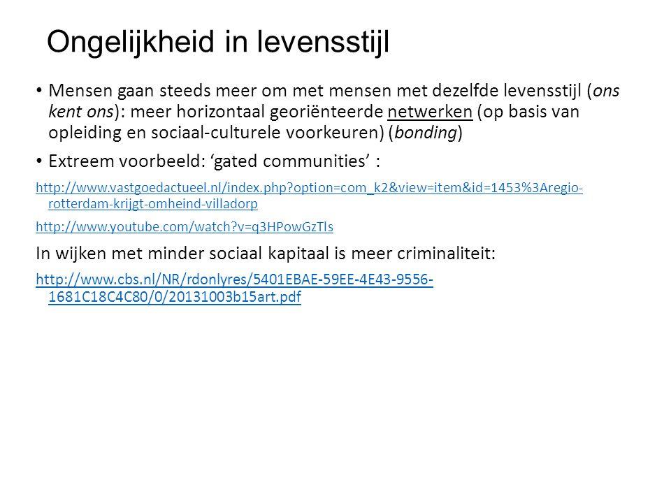 Ongelijkheid in levensstijl Mensen gaan steeds meer om met mensen met dezelfde levensstijl (ons kent ons): meer horizontaal georiënteerde netwerken (op basis van opleiding en sociaal-culturele voorkeuren) (bonding) Extreem voorbeeld: 'gated communities' : http://www.vastgoedactueel.nl/index.php option=com_k2&view=item&id=1453%3Aregio- rotterdam-krijgt-omheind-villadorp http://www.youtube.com/watch v=q3HPowGzTls In wijken met minder sociaal kapitaal is meer criminaliteit: http://www.cbs.nl/NR/rdonlyres/5401EBAE-59EE-4E43-9556- 1681C18C4C80/0/20131003b15art.pdf