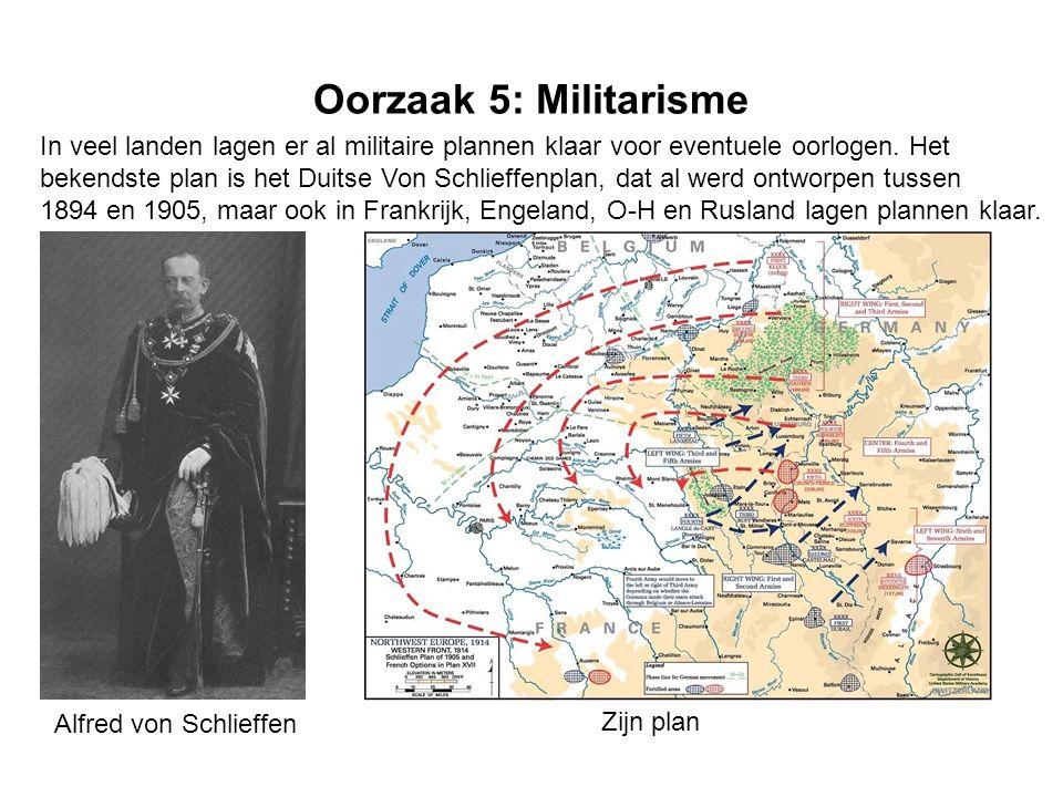 Oorzaak 5: Militarisme In veel landen lagen er al militaire plannen klaar voor eventuele oorlogen.