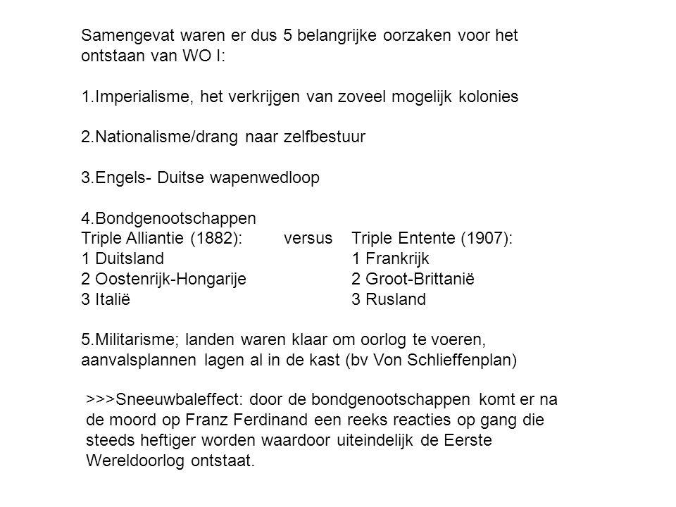 Samengevat waren er dus 5 belangrijke oorzaken voor het ontstaan van WO I: 1.Imperialisme, het verkrijgen van zoveel mogelijk kolonies 2.Nationalisme/drang naar zelfbestuur 3.Engels- Duitse wapenwedloop 4.Bondgenootschappen Triple Alliantie (1882): versus Triple Entente (1907): 1 Duitsland 1 Frankrijk 2 Oostenrijk-Hongarije2 Groot-Brittanië 3 Italië3 Rusland 5.Militarisme; landen waren klaar om oorlog te voeren, aanvalsplannen lagen al in de kast (bv Von Schlieffenplan) >>>Sneeuwbaleffect: door de bondgenootschappen komt er na de moord op Franz Ferdinand een reeks reacties op gang die steeds heftiger worden waardoor uiteindelijk de Eerste Wereldoorlog ontstaat.