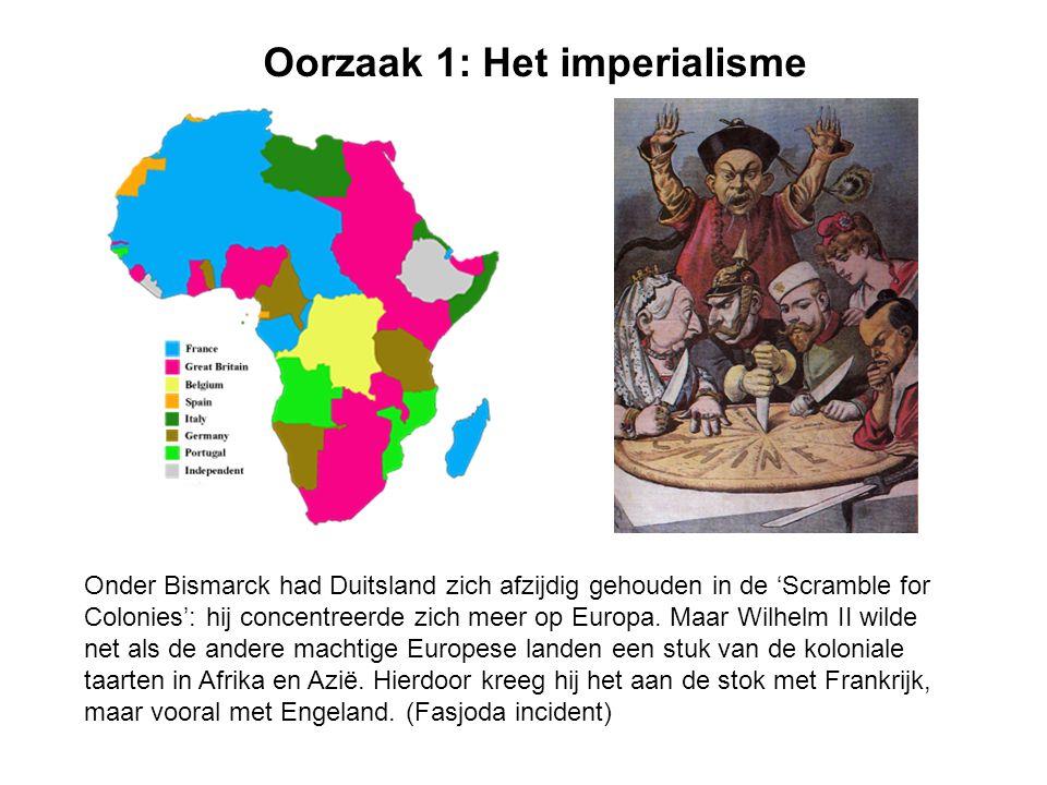 Oorzaak 1: Het imperialisme Onder Bismarck had Duitsland zich afzijdig gehouden in de 'Scramble for Colonies': hij concentreerde zich meer op Europa.