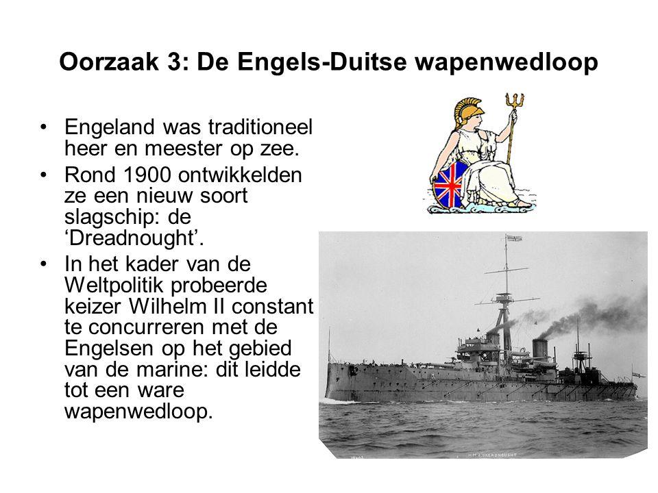 Oorzaak 3: De Engels-Duitse wapenwedloop Engeland was traditioneel heer en meester op zee.