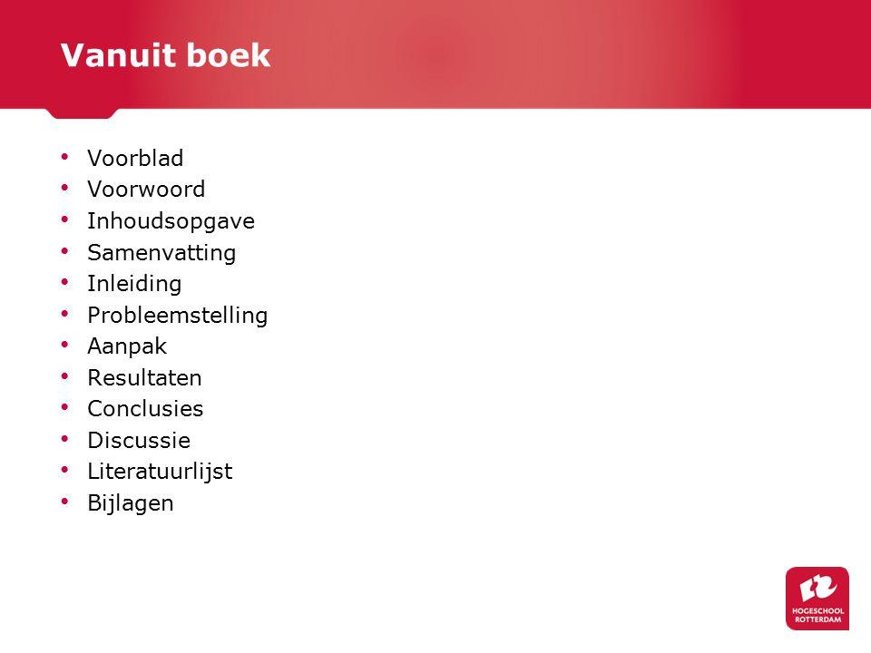 Vanuit boek Voorblad Voorwoord: hier mag dus ik Inhoudsopgave Samenvatting: vat het héle onderzoek kort samen.