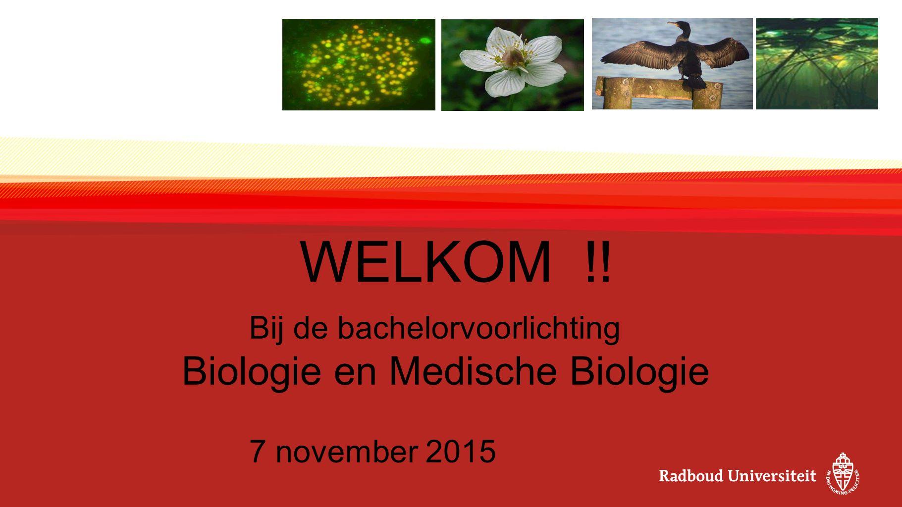 WELKOM !! Bij de bachelorvoorlichting Biologie en Medische Biologie 7 november 2015
