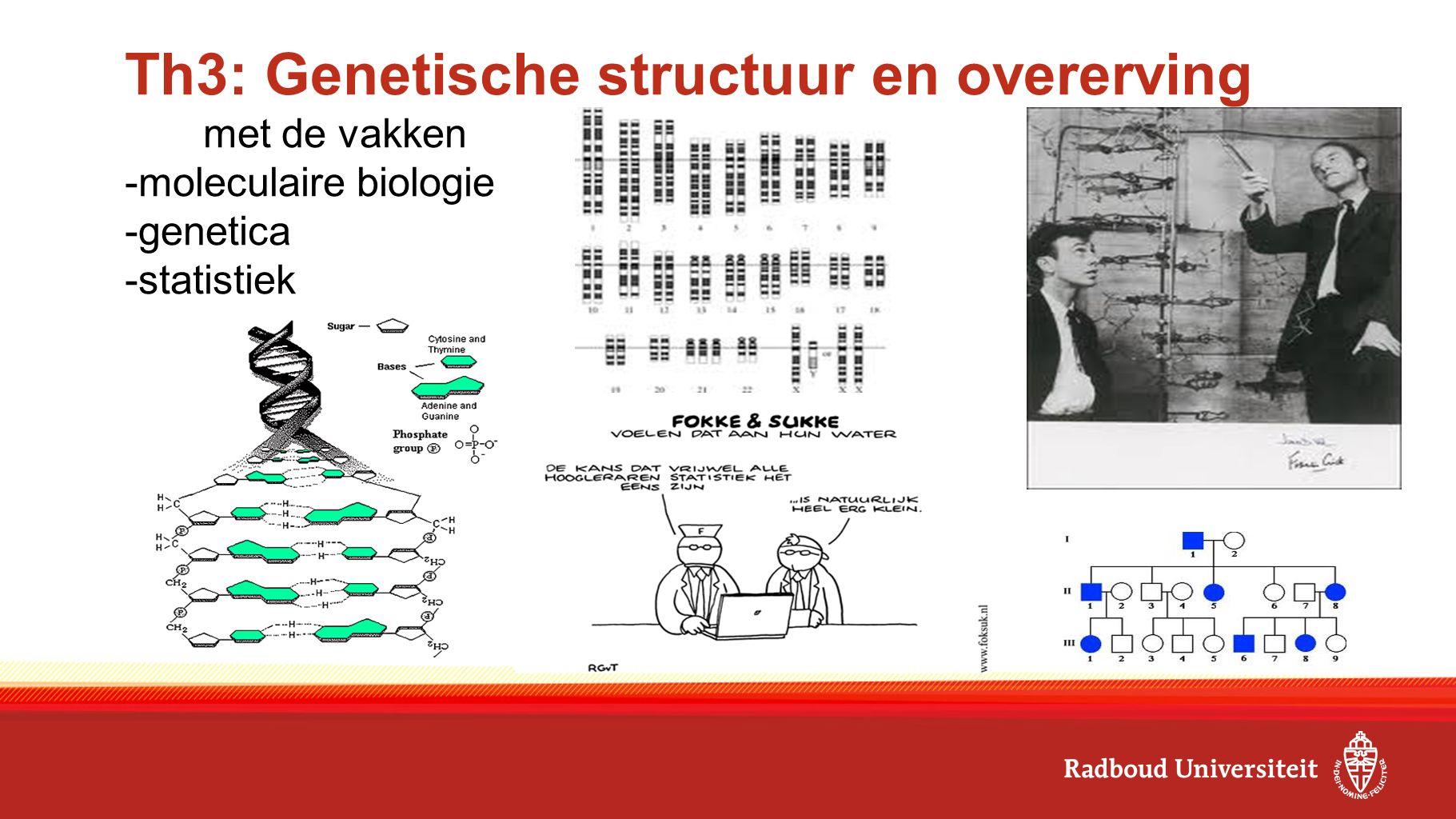 Th3: Genetische structuur en overerving met de vakken -moleculaire biologie -genetica -statistiek