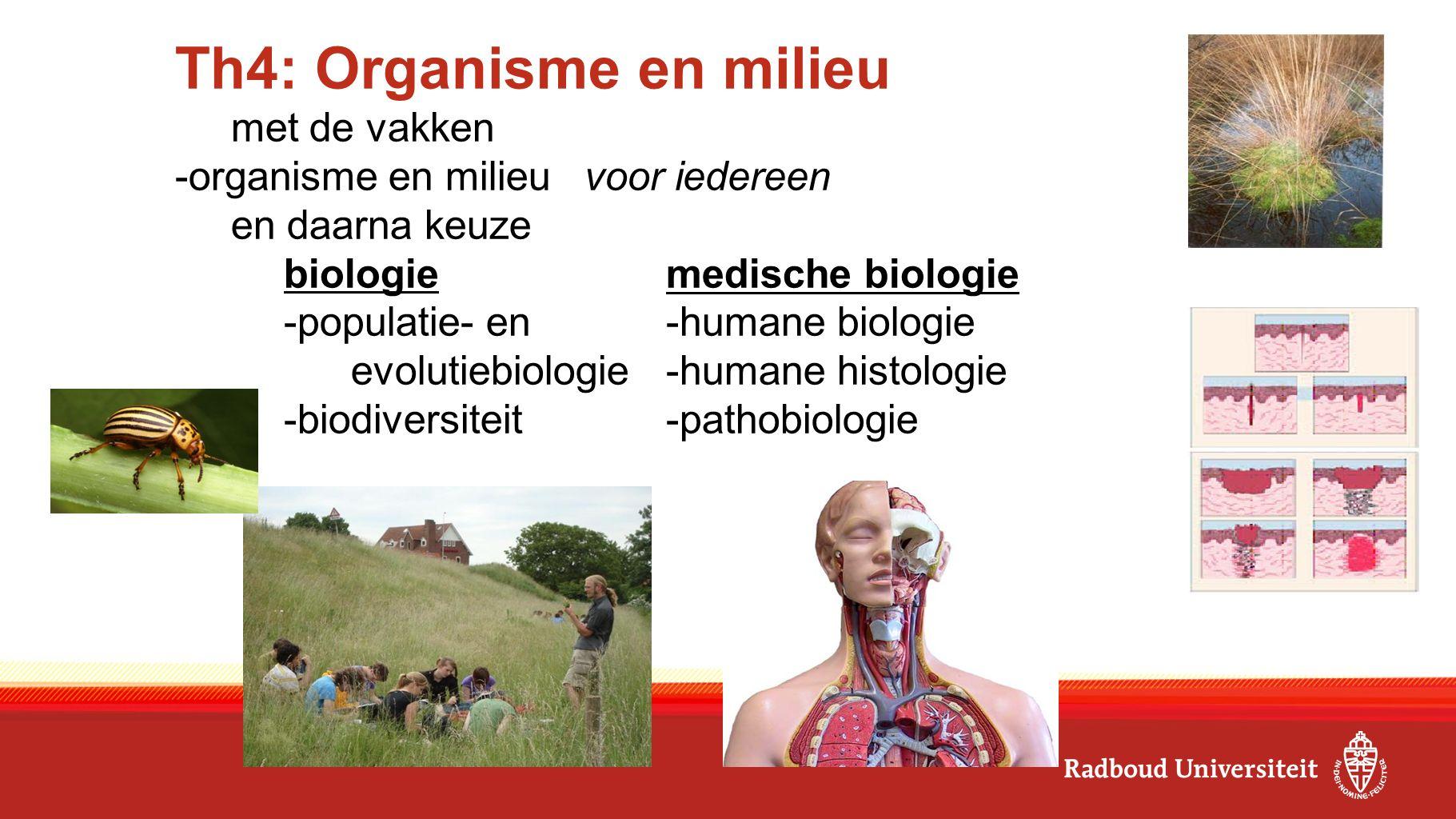 Th4: Organisme en milieu met de vakken -organisme en milieu voor iedereen en daarna keuze biologiemedische biologie -populatie- en-humane biologie evolutiebiologie-humane histologie -biodiversiteit-pathobiologie