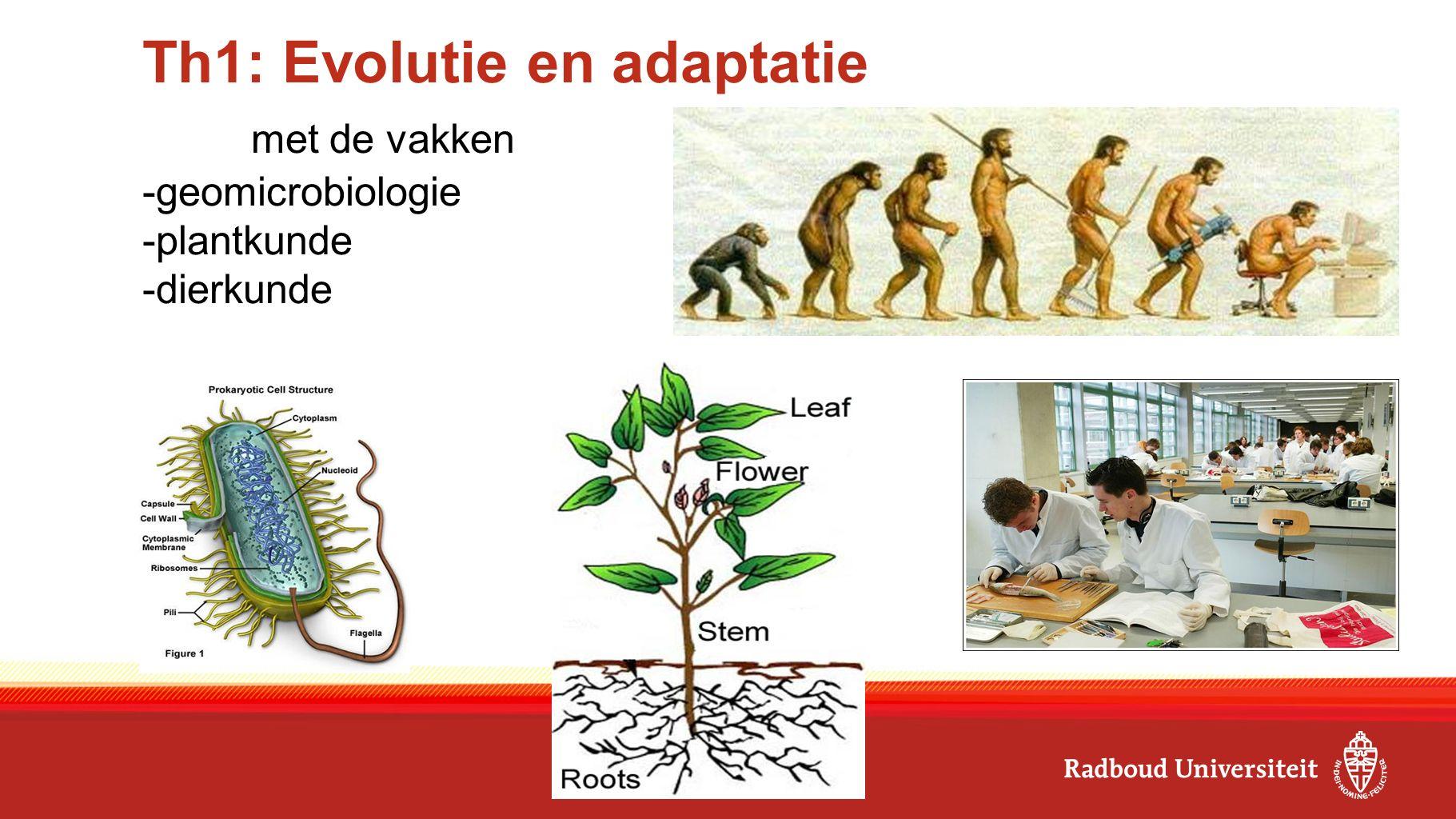 Th1: Evolutie en adaptatie met de vakken -geomicrobiologie -plantkunde -dierkunde