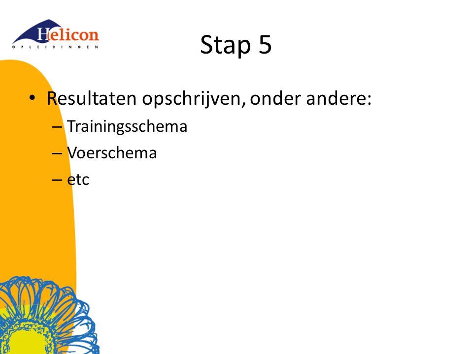Stap 5 Resultaten opschrijven, onder andere: – Trainingsschema – Voerschema – etc