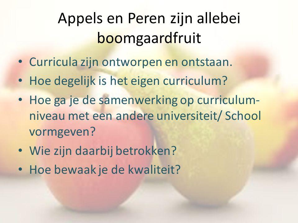 Appels en Peren zijn allebei boomgaardfruit Curricula zijn ontworpen en ontstaan. Hoe degelijk is het eigen curriculum? Hoe ga je de samenwerking op c