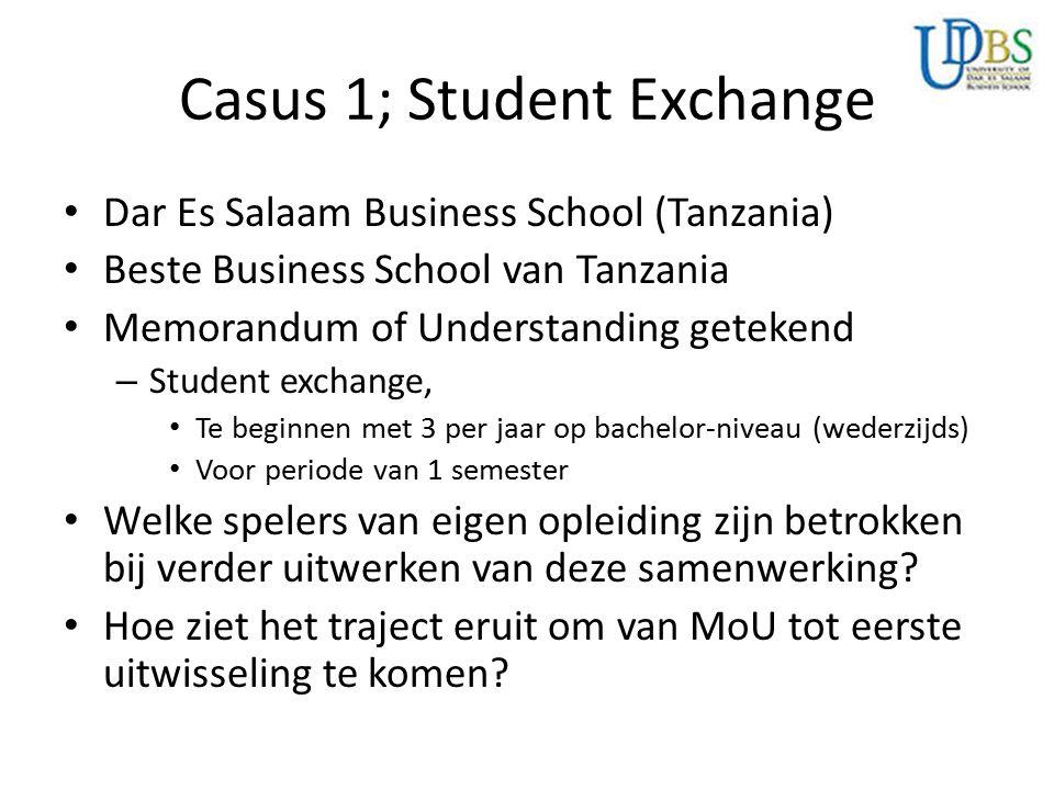 Casus 1; Student Exchange Dar Es Salaam Business School (Tanzania) Beste Business School van Tanzania Memorandum of Understanding getekend – Student e
