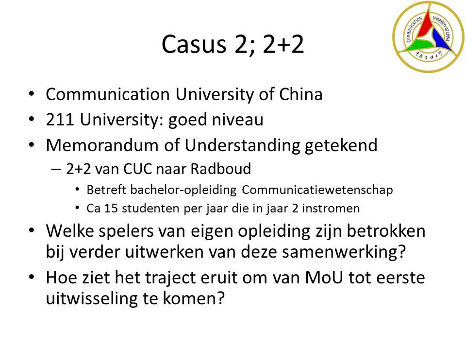 Casus 2; 2+2 Communication University of China 211 University: goed niveau Memorandum of Understanding getekend – 2+2 van CUC naar Radboud Betreft bac