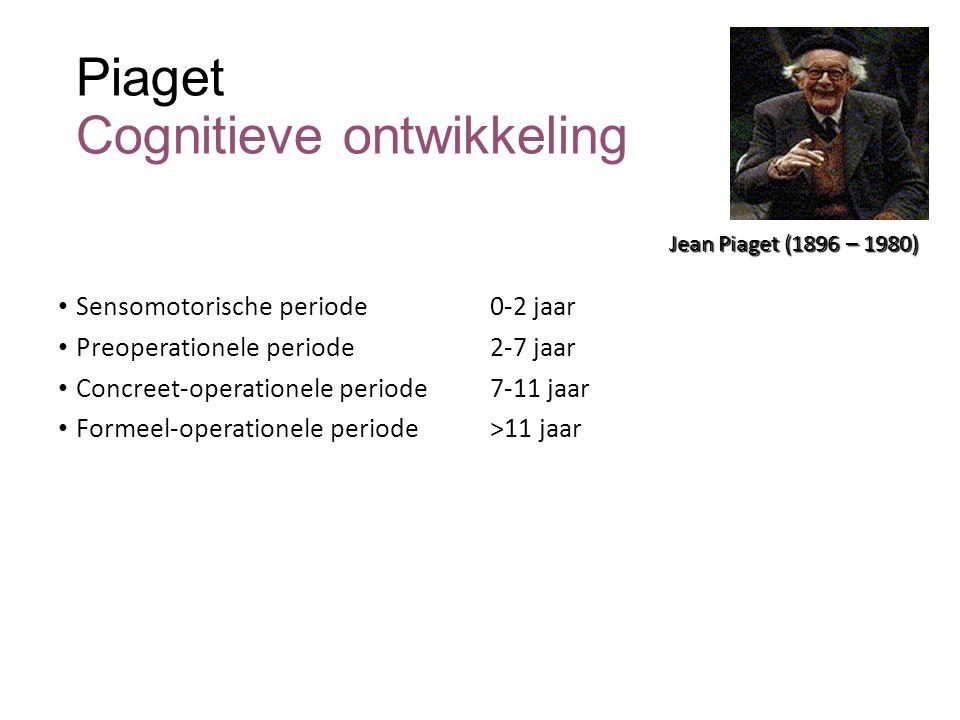 Piaget Cognitieve ontwikkeling Sensomotorische periode 0-2 jaar Preoperationele periode 2-7 jaar Concreet-operationele periode7-11 jaar Formeel-operat