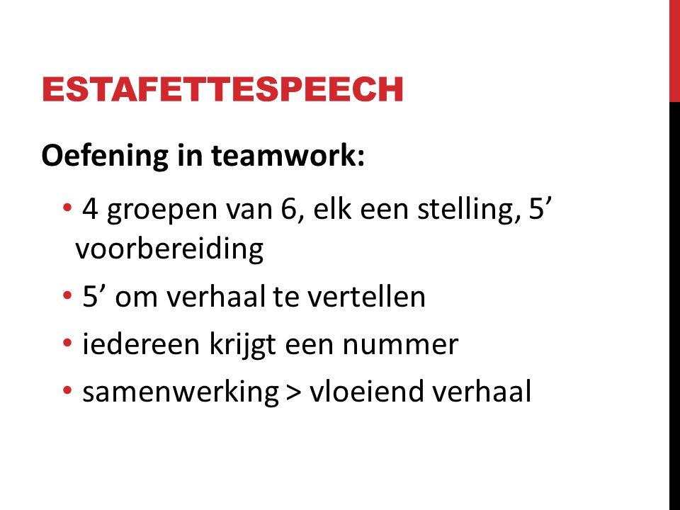ESTAFETTESPEECH Oefening in teamwork: 4 groepen van 6, elk een stelling, 5' voorbereiding 5' om verhaal te vertellen iedereen krijgt een nummer samenw