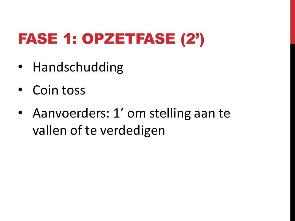 FASE 1: OPZETFASE (2') Handschudding Coin toss Aanvoerders: 1' om stelling aan te vallen of te verdedigen