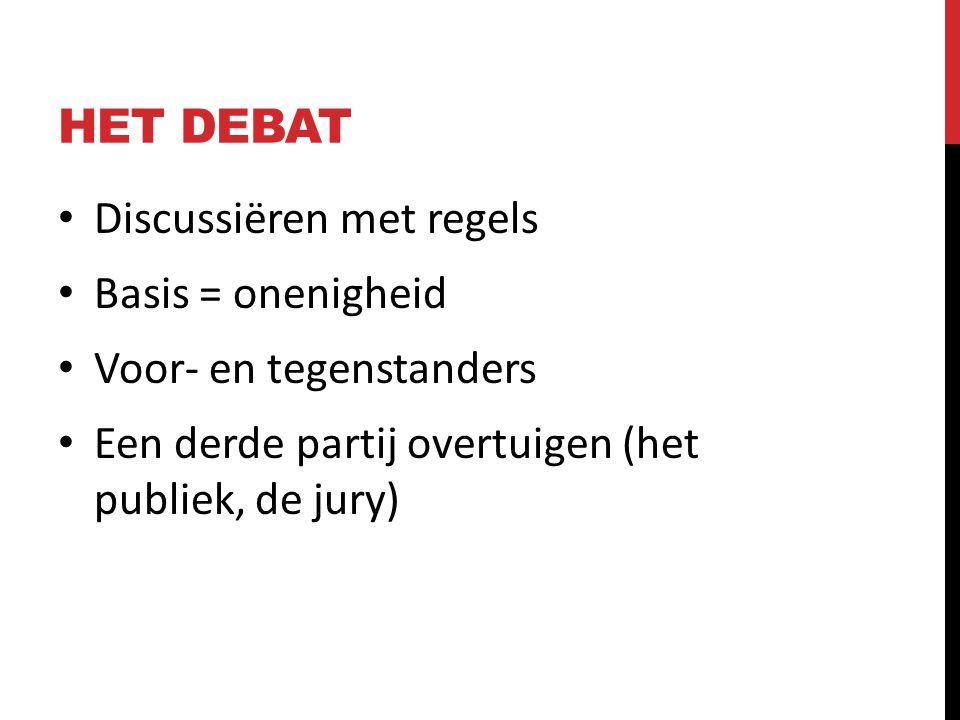 HET DEBAT Discussiëren met regels Basis = onenigheid Voor- en tegenstanders Een derde partij overtuigen (het publiek, de jury)