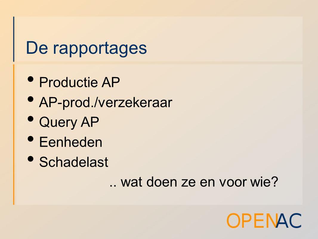 De rapportages Productie AP AP-prod./verzekeraar Query AP Eenheden Schadelast..