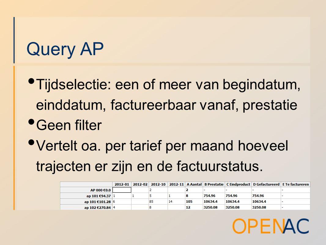 Query AP Tijdselectie: een of meer van begindatum, einddatum, factureerbaar vanaf, prestatie Geen filter Vertelt oa.