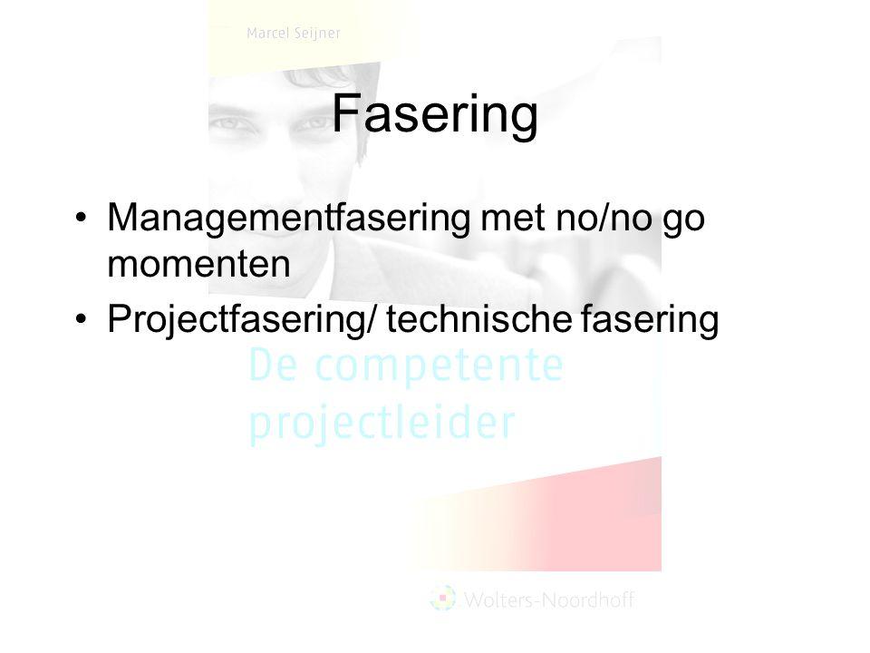 Fasering Managementfasering met no/no go momenten Projectfasering/ technische fasering