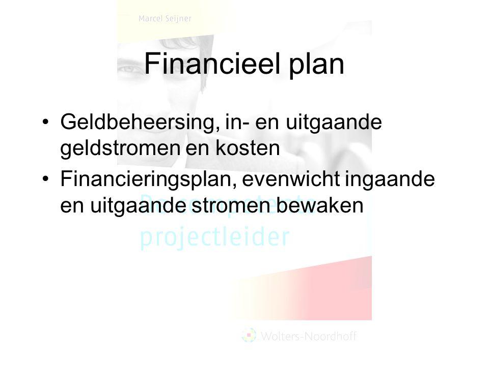 Financieel plan Geldbeheersing, in- en uitgaande geldstromen en kosten Financieringsplan, evenwicht ingaande en uitgaande stromen bewaken